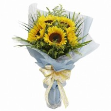 Hand Bouquet of 5 Stalks of Sunflowers