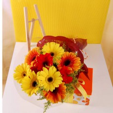 Hand Bouquet of 5 Stalks of Yellow and 5 Stalks of Orange Gerberas