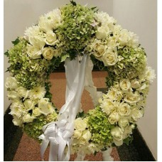 Condolence Floral Stand of Rose, Hydrangeas and PomPom