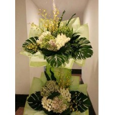 Condolence Floral Stand of Rose, Hydrangeas and Orchids