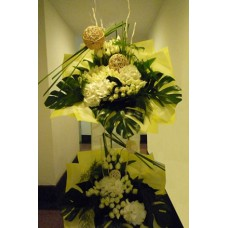 Condolence Floral Stand of White Hydrangeas and White Roses