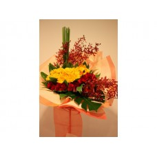 Congratulation Floral Stand of Gerberas , Roses and Orchids