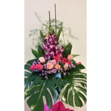 Congratulation Floral Stand of Roses and Orchids