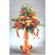 Congratulation Floral Stand of Gerberas, Daisies and Carnations