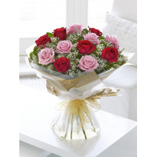 Hand Bouquet of 6 Stalks of Valentine Day Red Roses and 6 Valentine Day Pink Roses